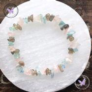 Rose Quartz, Labradorite & Aquamarine Crystal Chip Stretch Bracelet